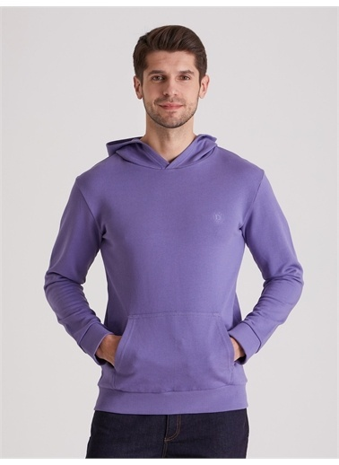 Dufy Düz Kapüşonlu Erkek Sweatshirt - Regular Fit Mor